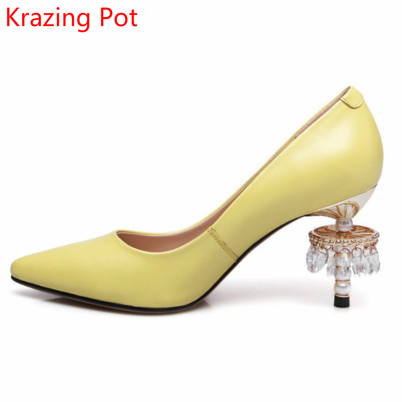 Fashion Genuine Leather High Heels Crystal Pearl Party High Heels Shallow Luxury Brand Shoes Pointed Toe Wedding Women Pumps L36