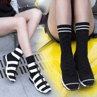 Moda Tarja Ocasional de Malha Elástica Meias Tornozelo Botas Flat Confortáveis Botas de Lã Sapatos Botas Curtas das mulheres do Sexo Feminino