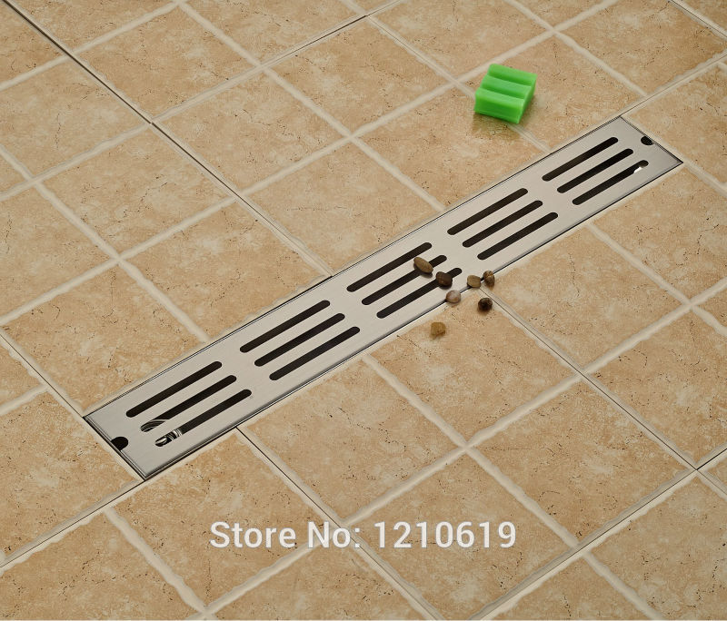 Newly Bathroom Balcony Floor Drain Shower Strainer Stainless Steel Nickel Brushed Floor Filler 70*10cm free shipping wholesale and reatil nickel brushed finished stainless steel floor drain