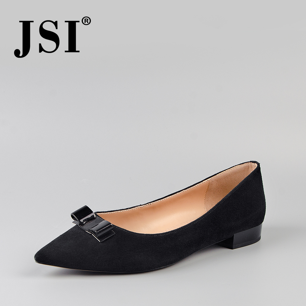 JSI 2019Spring New Woman Soft Kid Suede Low Heel Pointed Toe Basic Pumps Slip on Butterfly