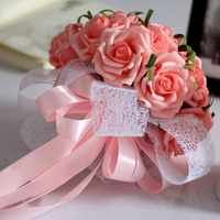 New Year Romantic Pink Ribbon Rose Wedding Bridal Bridesmaid Flower Bouquet Bride Holding Elegant Silk Flower Free ship