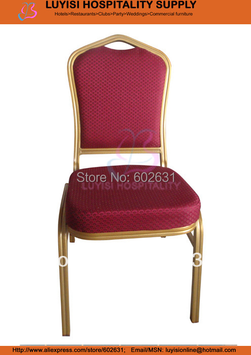 Painted Red Fabric Aluminum Frame Stacking Banquet Chair