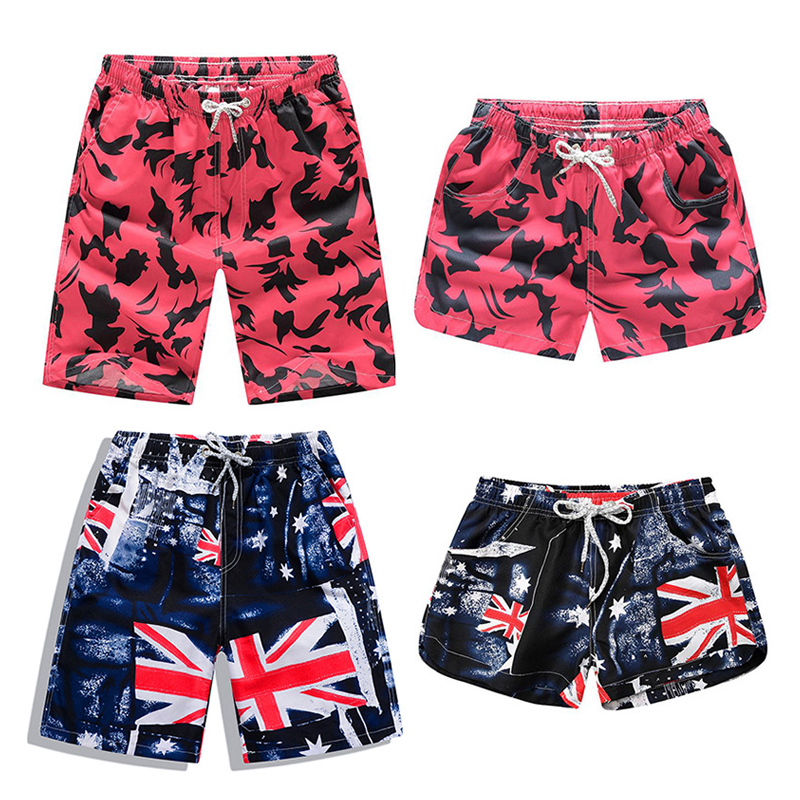 New Beach Shorts Men Women Printed Couple Swimwear Quick Dry Elastic Swim Trunks Surf Summer Swimming Briefs Men Casual Shorts 1