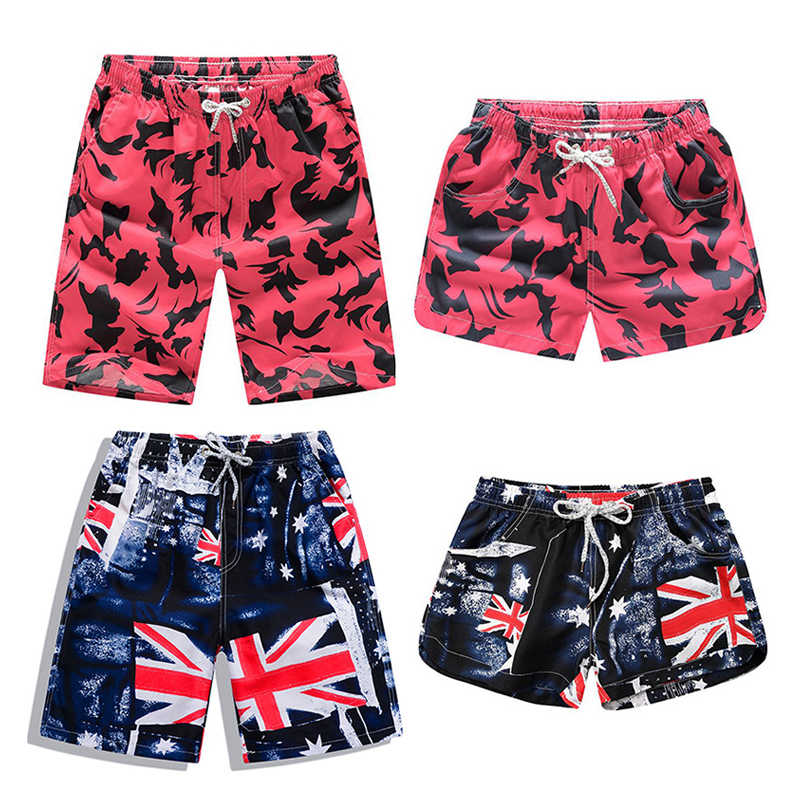 ff870730bd Quick Dry Beach Shorts Men Women Printed Couple Swimwear Elastic Swim  Trunks Summer Beach Swimming Briefs