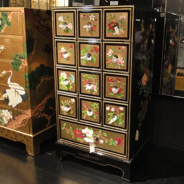 Korean Chinese Gold Painted Peony New Drawer Storage Cabinets Between Model Showcase Multi Bedroom