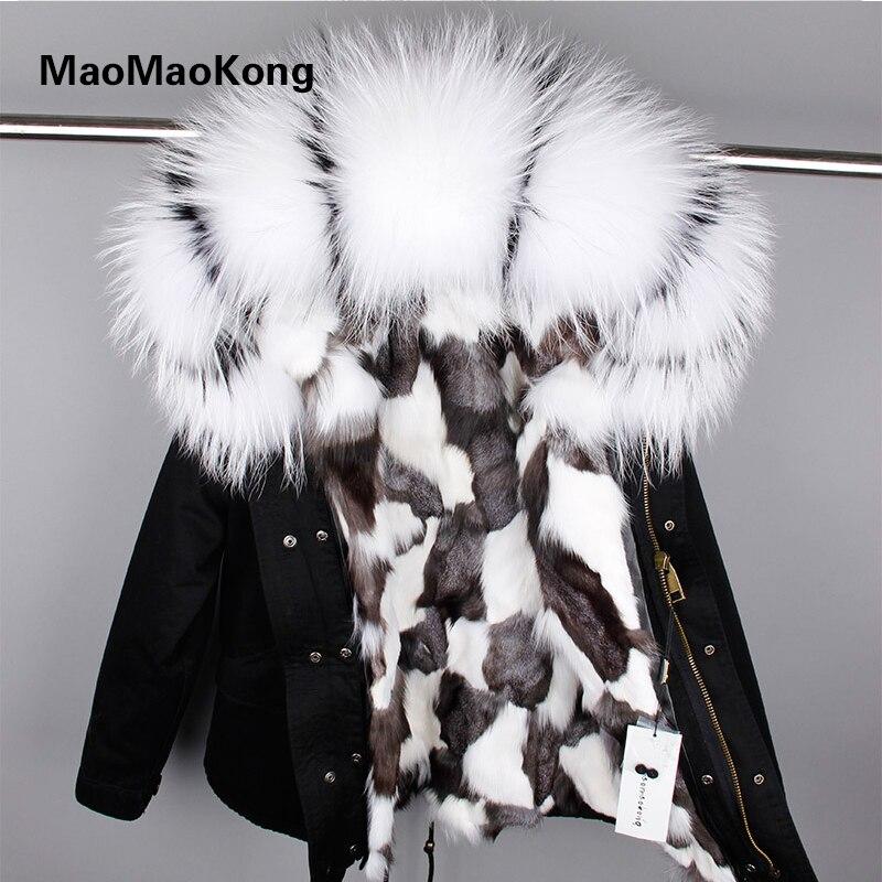 MAO MAO KONG Winter Jacket 2017 Army Green   Parka   Coats Real Large Raccoon Fur Collar Fox Fu Hooded Outwear