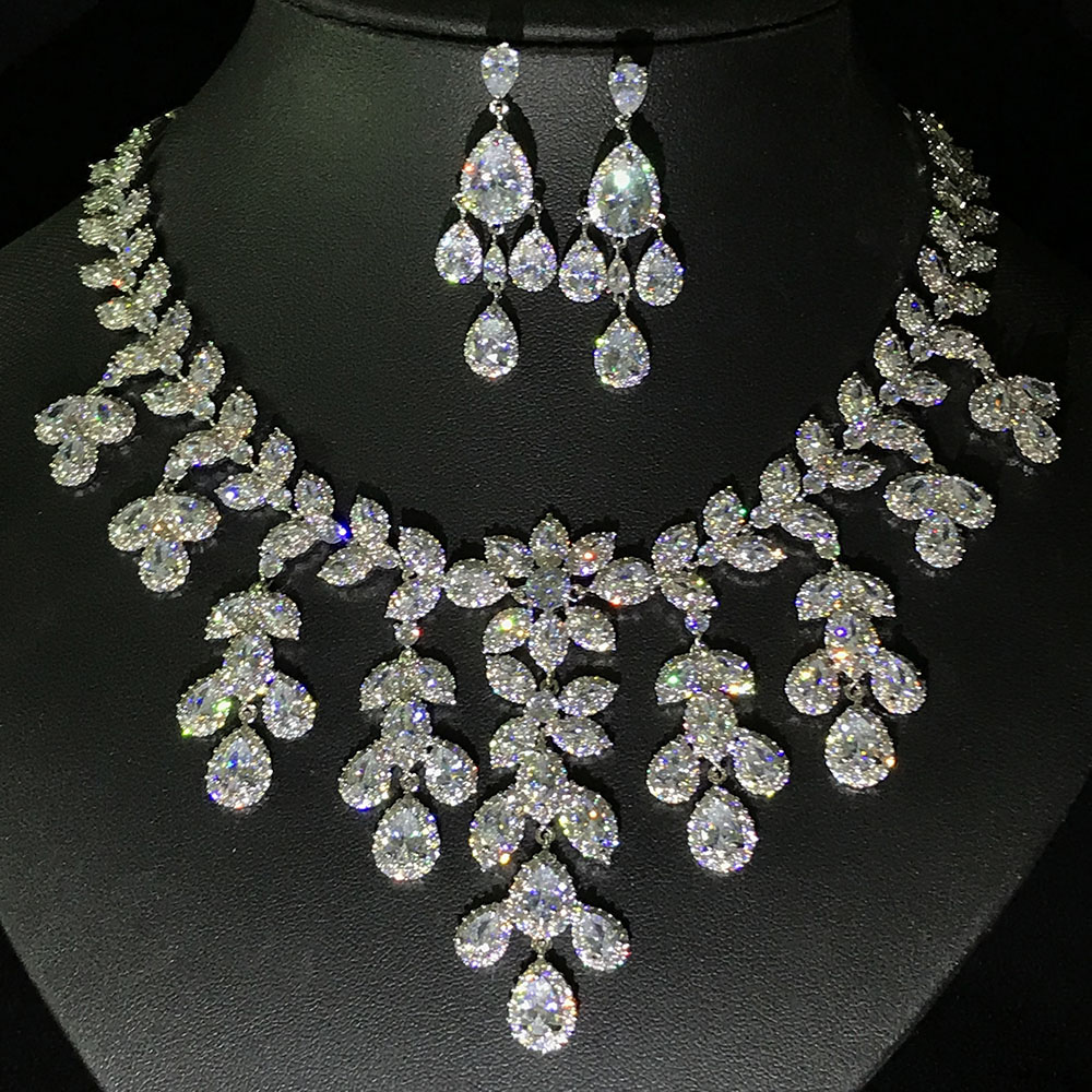 Us 78 93 20 Off Aaa Cubic Zirconia Clear Crystal Heavy Choker Necklace And Stud Earrings Jewelry Set Wedding Bridal Dinner In Sets From
