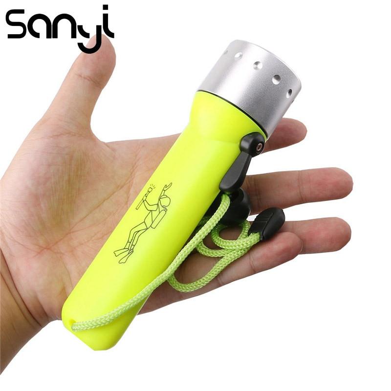 SANYI Underwater Flashlight Led Linternas Lantern Q5 3800LM Lamp Diving Flashlight Light Spear Fish Equipment 4*AA Battery