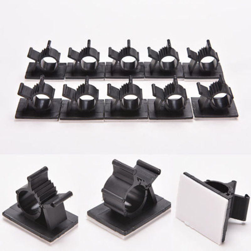 10pcs/lot Black Plastic Wire Fixed Clip Car Line Clip Self Adhesive Cord Cable Holder Clamps Wire Button Tie Mounts