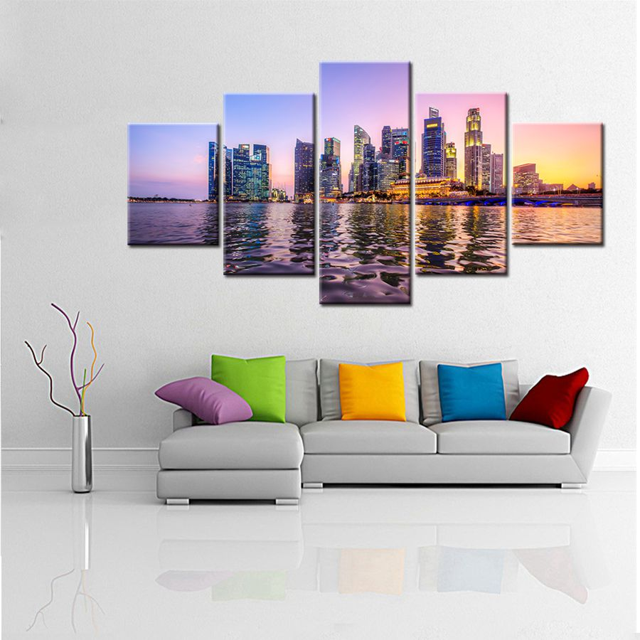 Large HD Picture Beautiful A Night View of Singapore's Seaside Landscape Neon Lamp Wall Art Canvas Painting Print for Home Decor
