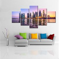 Large HD Picture Beautiful A Night View Of Singapore S Seaside Landscape Neon Lamp Wall Art