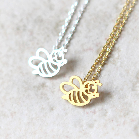 Fashion cute honey bee necklace gold silver honey bee pendant fashion cute honey bee necklace gold silver honey bee pendant necklace women collier in pendant necklaces from jewelry accessories on aliexpress aloadofball