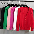 SETWIGG Female Spring Candy Color Knit Cardigan All Match Single-breasted Long Sleeve Knitted Thin Sweet Casual Short Cardigan