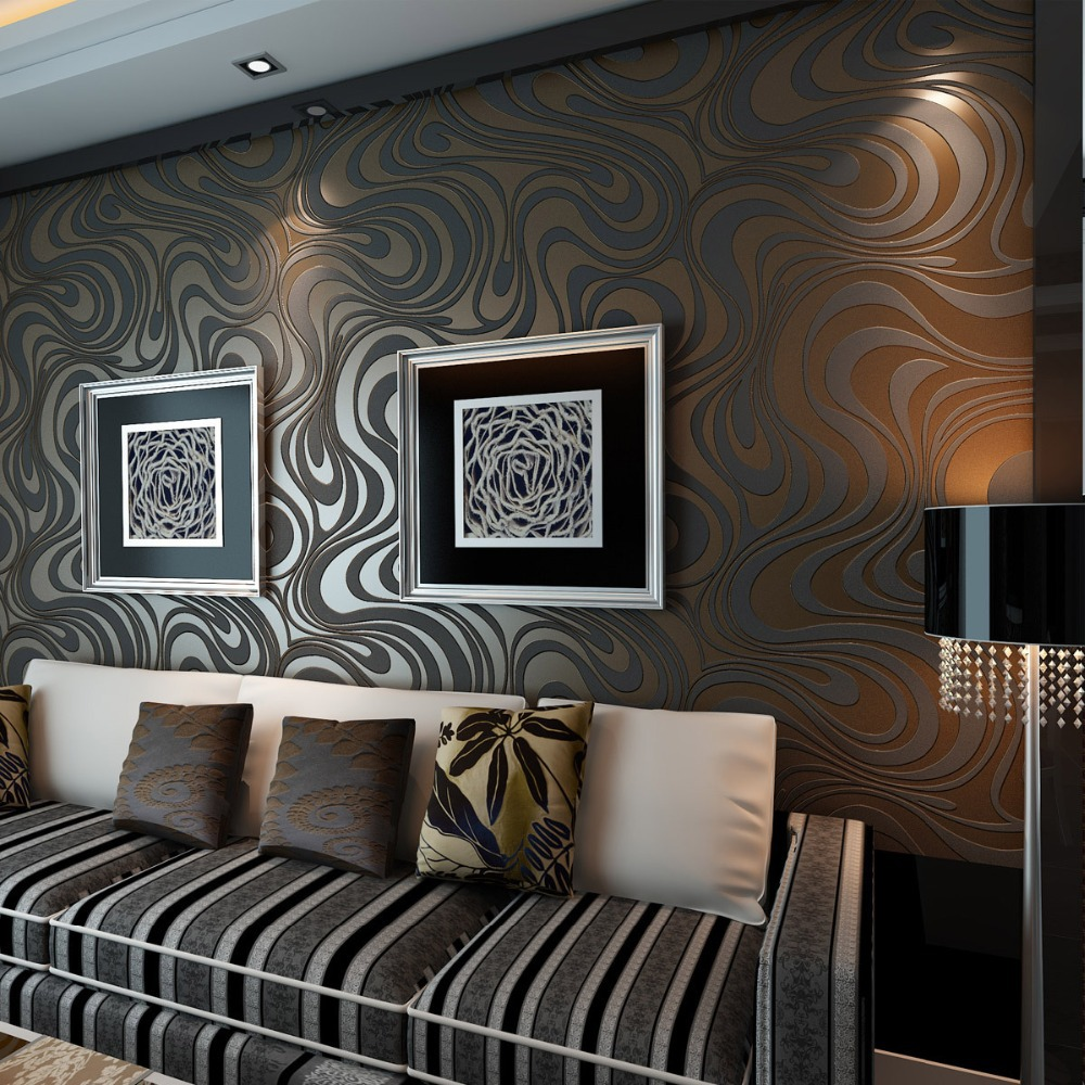 Large papel de parede decorative 3d wall panels murals wallpaper for - Aliexpress Com Buy Beibehang Contact Paper Black Swivel Curves Circles Neutral Geometric Wallpaper 3d Wall Paper Roll Pvc Wallpaper For Living Room From