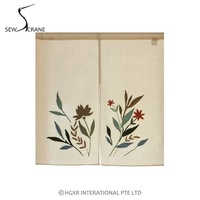 SewCrane Honeycomb Fabric Widlflower Embroidery Home Restaurant Door Curtain Noren Doorway Room Divider White