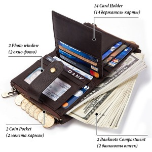 Image 5 - 2020 100% Genuine Leather Rfid Wallet Men Crazy Horse Wallets Coin Purse Short Male Money Bag Mini Walet High Quality Boys
