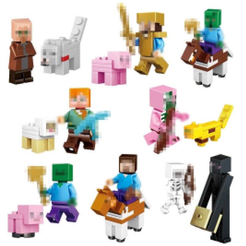 16 unids/lote Minecraft Compatible con bloques de construcción juguetes de Steve Alex Zombie esqueleto arma figuras de acción juguetes de regalo para niños E