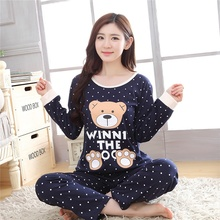 Autumn 2018 Girl Home Winter Pajama Set Woman Clothes Plus S