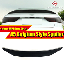 цена на Fit For Audi A5 A5Q FRP Unpainted Spoiler Belgium Style rear spoiler Rear trunk Lid Boot Lip wing A5 4-Doors car styling 2009-16