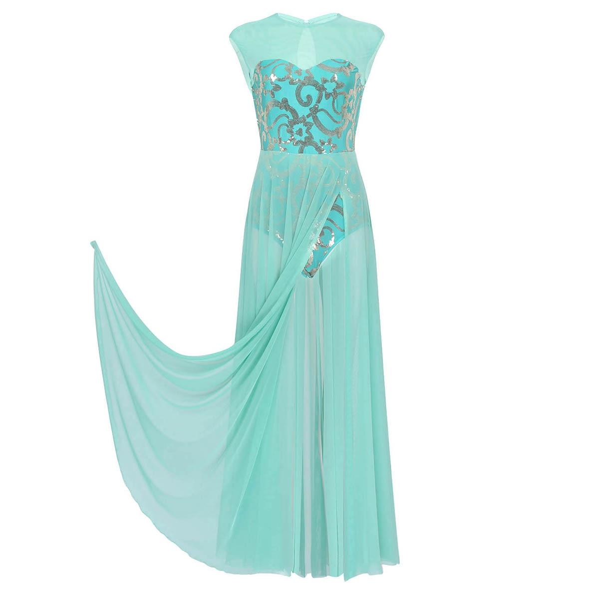 Image 4 - Women Ballet Tutu Skirt Floral Sequins Shiny Tank Leotard Maxi Dress for Modern Lyrical Praise Contemporary Stage Dance CostumeBallet   -