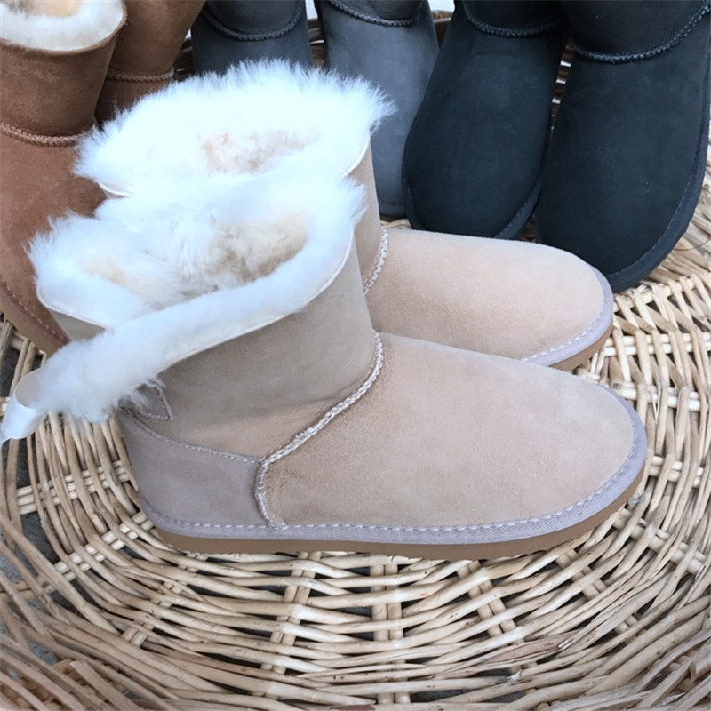 Hemmyi 2017 Women Australia Classic Style Ug Snow Boots High-quality Sheepskin Kid Suede Bowknot Winter Warm Wool Ankle Boots 2017 sales of the most popular hot winter boots women ug australia boots women slip warm women s boots in the snow size 34 44
