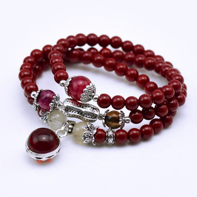 Houbian Moda 6mm vermelho Contas de Pedra Naturais Contas de Oração Budistas Tibetanos Colar Cabaça mala Pulseira Oração pela Meditação