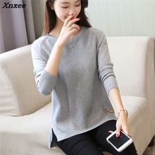 2018 new winter sweater T-shirt raglan sleeve hem female split bottoming shirt Xnxee