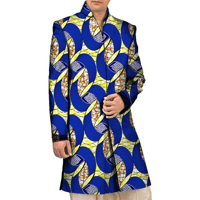 Пользовательские Autu Африканской Печати Пальто Мужская Стенд Воротник Траншеи Мужчины Fahison Dashiki Слоя Африке Одежда