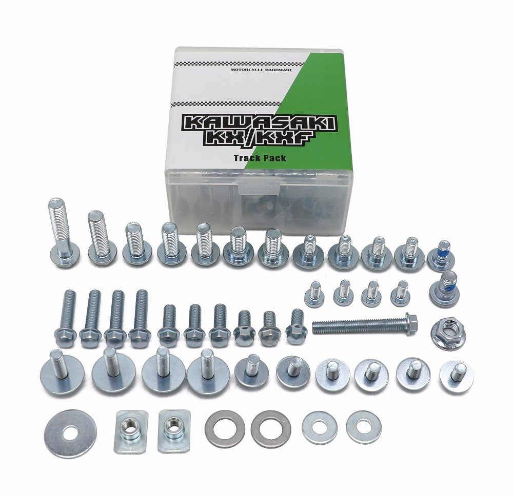 46pieces motorcycle hardware bolt track pack handware kit for kawasaki <font><b>kx</b></font> <font><b>125</b></font> 250 kx250f kx450f factory style dirt bike <font><b>parts</b></font> image