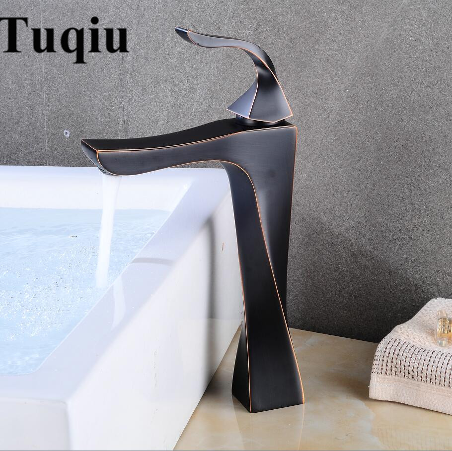 Basin Faucets Brass Oil Rubbed Bronze European Bathroom Sink Faucet 1 Lever Hole Counter top Deck Hot Cold Mixer Water Taps retro black oil rubbed bronze sink basin faucet mixer taps bathroom hot and color water faucets home supplies top quality