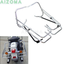 Motorcycle Rear Saddlebag Bracket Twin Bars Guard Holder For Harley Touring Road King Electra/Street/Road Glide 1997-2008