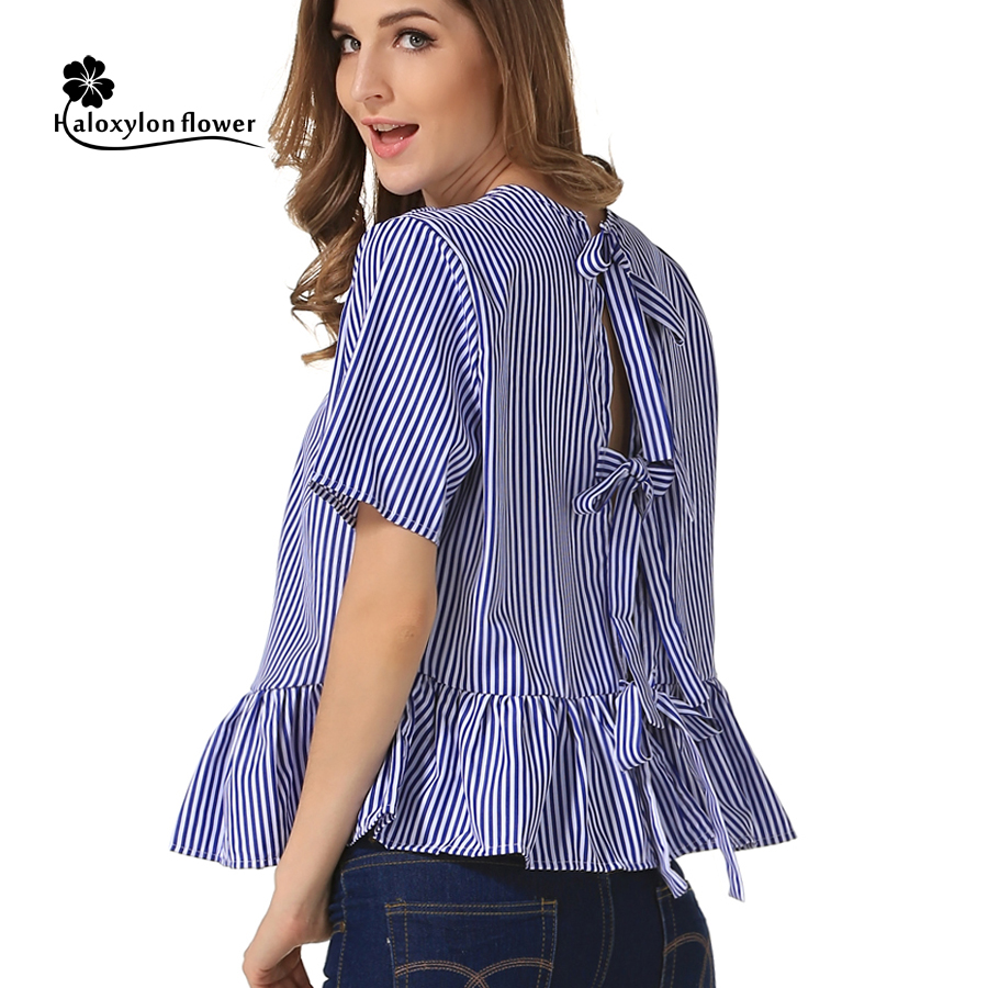 Female Tops women blouse shirt Blue and White Vertical Striped O-Neck Contrast Short sleeve Flounced Halter Bandage Sexy Blusas