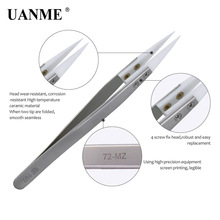 UANME Anti-Static Ceramic Tweezers Electronic Cigarette Industrial Ceramic Tweezers with Insulated Pointed Straight