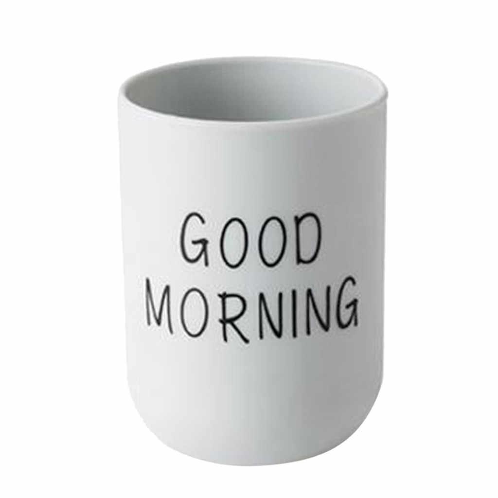 فرشاة الأسنان الملونة البسيطة المحمولة للحمام كأس دائري شرب كأس بسيط عادي زوجين كأس الأسنان صباح الخير H0412