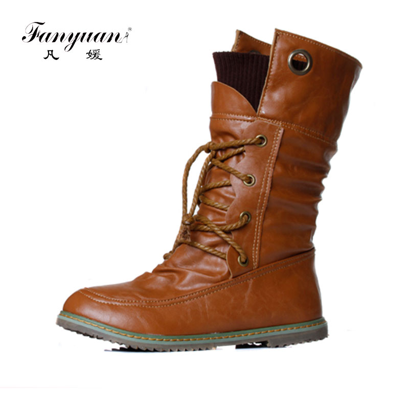 Fanyuan 2017 Women Winter Snow Ankle Boots Lace Up Low Heels Platform Warm Fur Shoes Woman Short Botas Mujer Big Size 34-43 стоимость