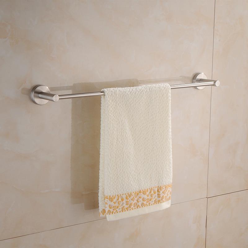 ФОТО Aothpher 60 CM Wall-Mounted  Towel Bar Bathroom Single Towel Round base Bars Towel Holder Brushed Finished Towel Rack  Bathroom