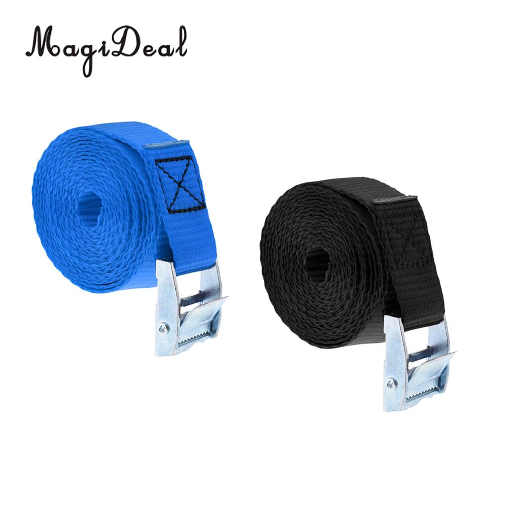 2Pcs Metal Cam-locking Buckle Tie Down Straps Strong Polyester Lashing Belt For Roof Racks Trailers (8' X 1')