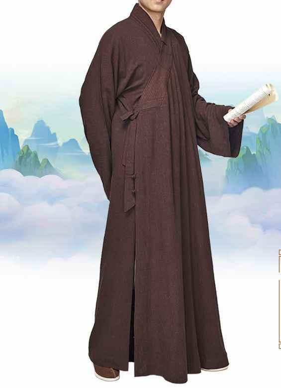 ユニセックスコットン & リネン仏教僧侶スーツローブ仏教禅制服少林寺カンフー服のガウン服コーヒー/ブラウン