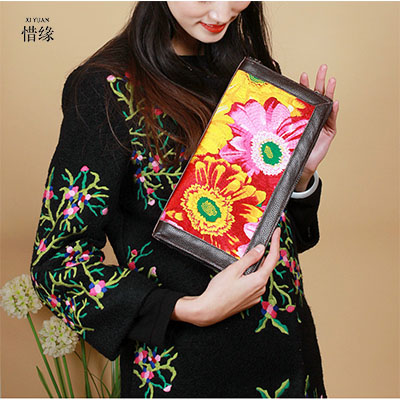 XIYUAN BRAND fashion and New arrival Original Design of Ethnic Embroidered female clutch hand bag floral daisy Messenger bag new arrival ship pattern design brooch for female