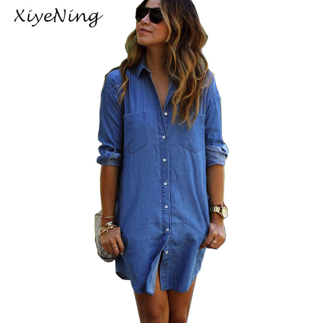 Long Length Women Blue Denim Shirt Soft Blouses Shirts Long Sleeve ...