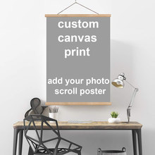 Personalized Photo to Canvas Print Wall Art vintage poster hanger scrolls Customize Your Photo On Canvas home decor(China)