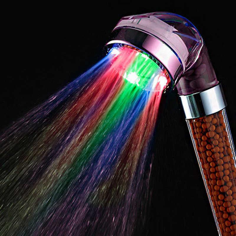 Cabeza ligera con luz LED automática, Boquilla pequeña con Control de  temperatura, anión de fototerapia, baño, ducha, utensilios para el baño|Grifos  de ducha| - AliExpress