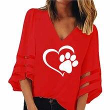 Dog Paw Print V-neck T-Shirt