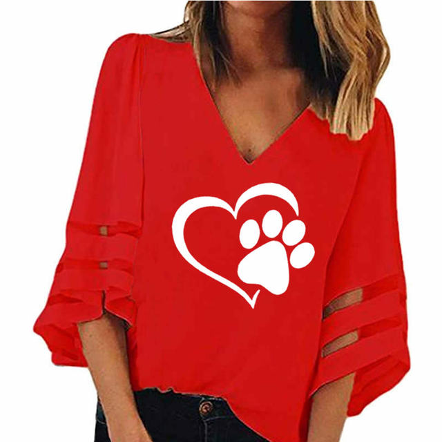 Dog Paw T Shirt Women Sexy V-neck Splicing Hollow Plus Size T-Shirt