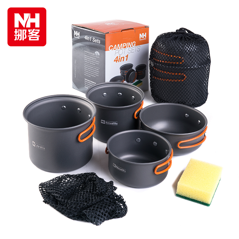 ФОТО Naturehike New  2-3 Persons Outdoor Pot Sets Camping Cookware Portable Picnic Pot with Pan NH15T401-G