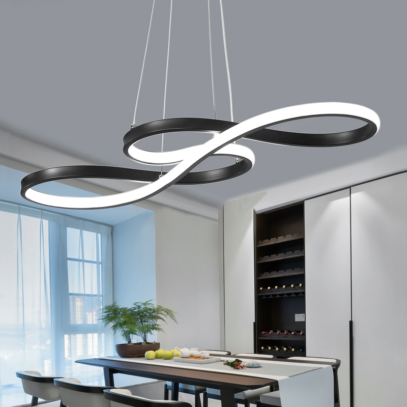 Restaurant chandelier creative personality art bedroom dining room living room lamp black white modern minimalist led chandelierRestaurant chandelier creative personality art bedroom dining room living room lamp black white modern minimalist led chandelier