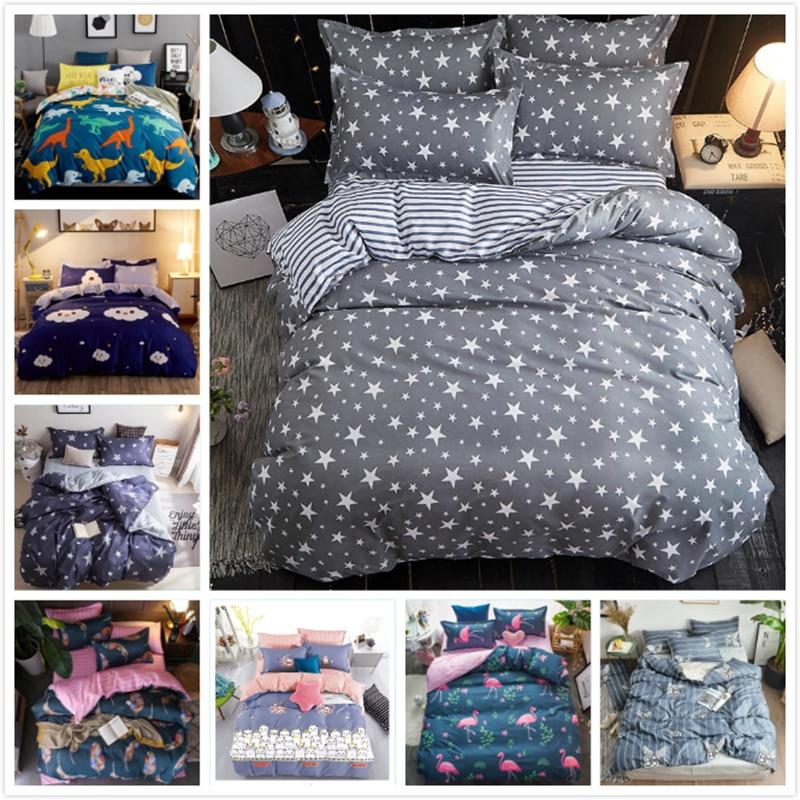 3/4 pcs Bedding Sets Kids Single 1.2m 1.35m 1.5m Fitted Sheet Cotton Soft Bed Linen Full Queen King Size Duvet Cover Quilt Case
