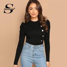 a59046d9 Sheinside Elegant Ladies Tops and Tees Black Long Sleeve T-shirt Women  Button Front Leg