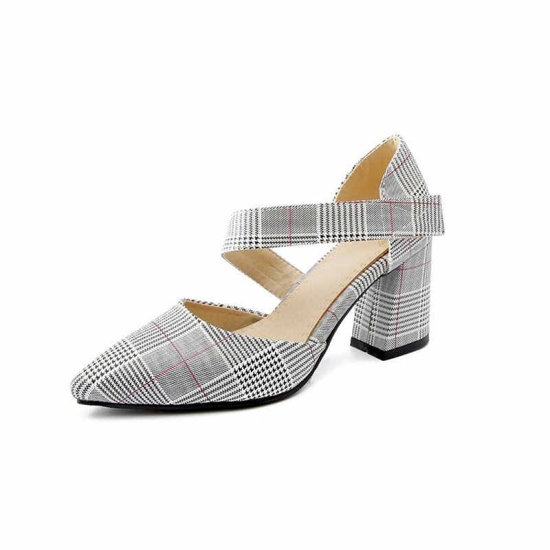 ... ZawsThia plaid checked houndstooth pattern block high heels for woman  buckle strap mary janes shoes women ... 675fbf613816