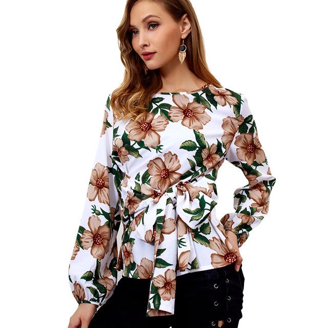 women xxl female ladies tee shirt flower print long sleeve floral sexy sashes clothing woman 2019 t shirt 2019s